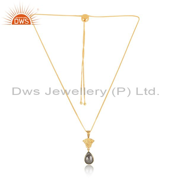 Oval Labradorite Pendant And Gold Plated Silver Necklace