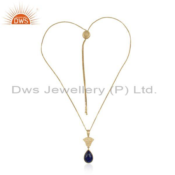 Handmade textured designer gold over silver 925 lapis necklace