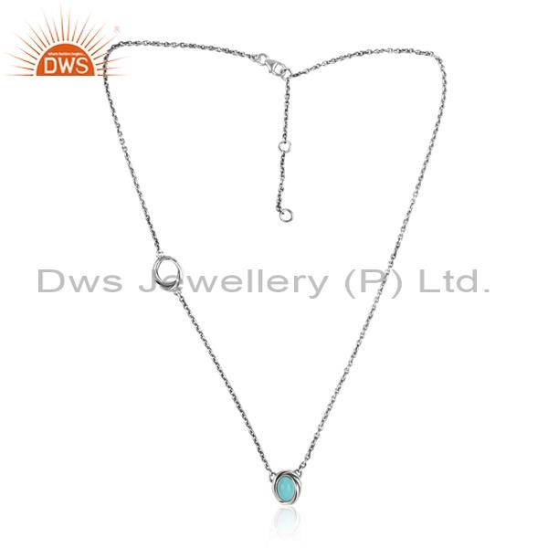 Oval Arizona Turquoise 925 Silver Chain & Pendant