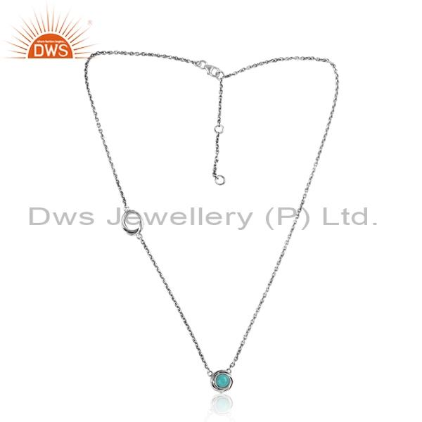 925 silver oxidized necklace with arizona turquoise pendant