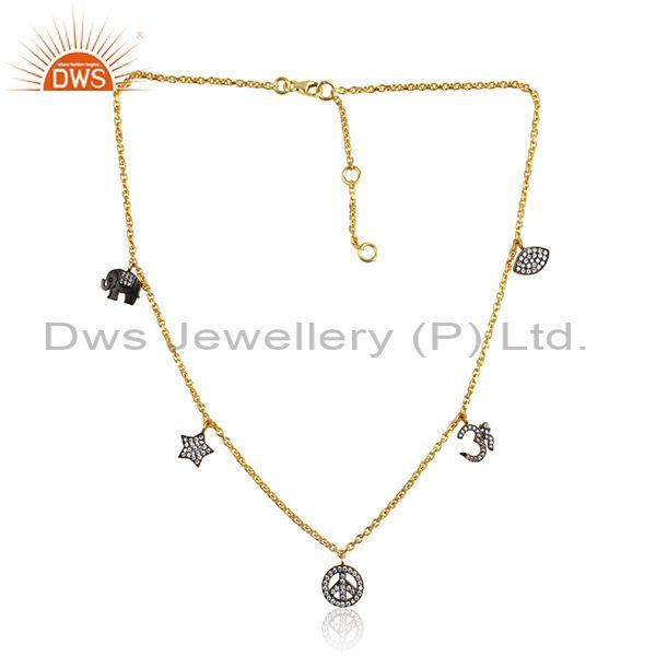 Cubic zirconia silver gold plated charm pendant and necklace