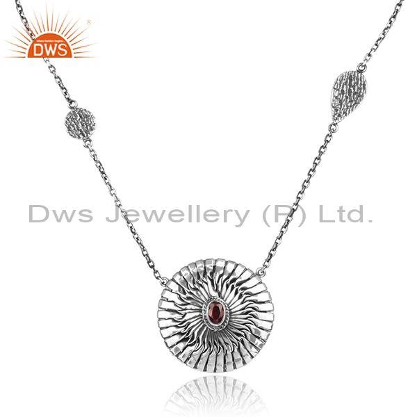 Red Garnet Set Oxidized 925 Silver Classic Pendant And Chain