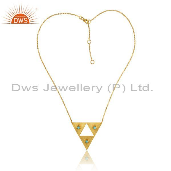Arizona Turquoise Triangular Pedant And Gold On Silver Chain