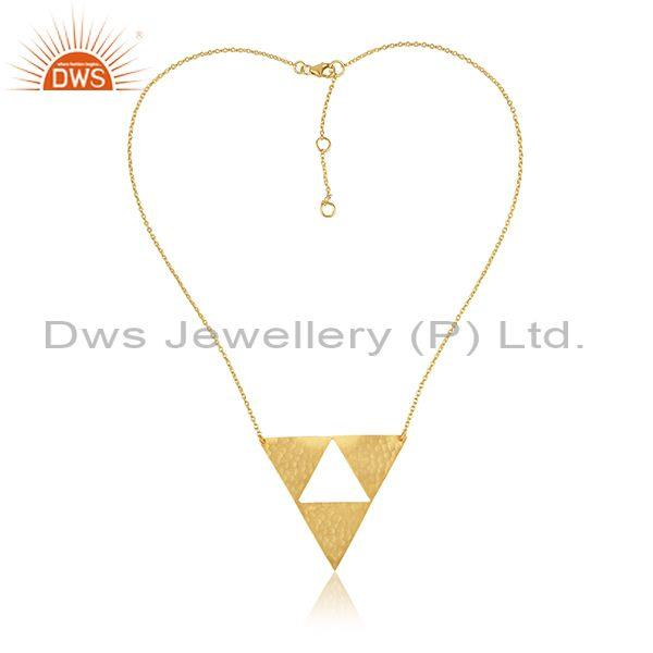 Triangular Handhammered Pendant And Gold On 925 Silver Chain