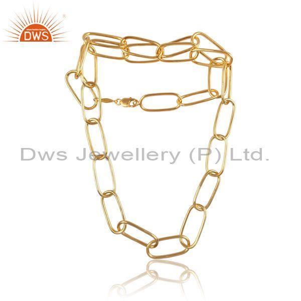 Gold On Sterling Silver Chain Link Style Classic Necklace