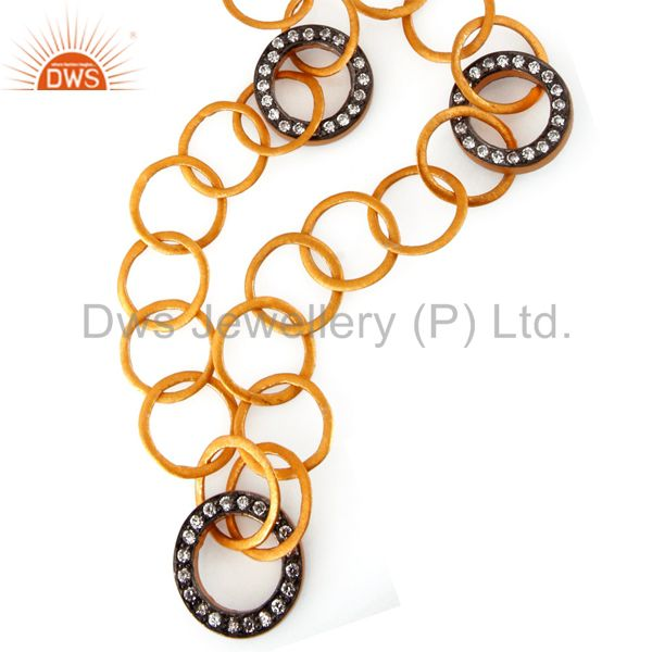Handmade 18k Gold On 925 Sterling Silver Link Necklace With White Zircon Jewelry