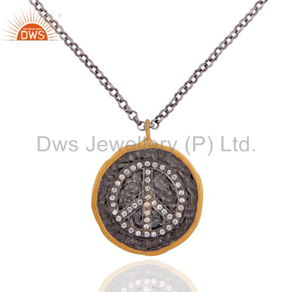 """24k gold plated with white zircon peace sign silver pendant necklace 16"""" in cha"""