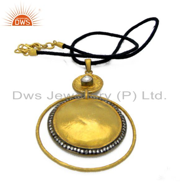 22K Yellow Gold Plated Brass CZ Crystal Polki Designer Pendant With Black Cord