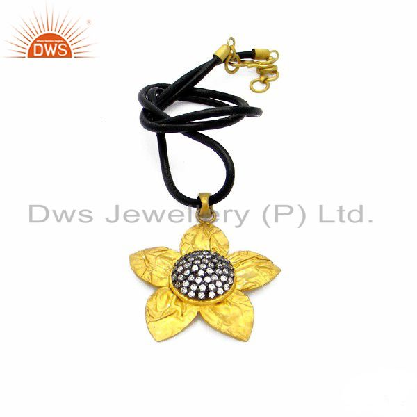 22k yellow gold plated sterling silver cz flower design pendant with black cord