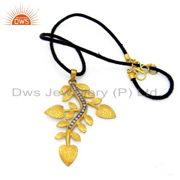 18K Yellow Gold Plated Sterling Silver CZ Textured Leaf Design Pendant Necklace