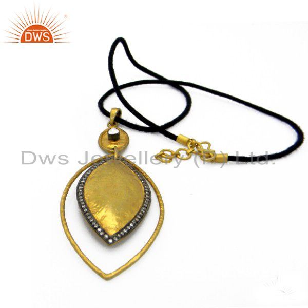 22K Yellow Gold Plated Sterling Silver CZ Polki Pendant With Black Cord Necklace