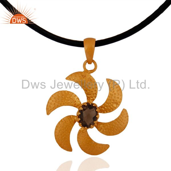 18k Yellow Gold Plated 925 Sterling Silver Smokey Quartz Flower Design Pendant