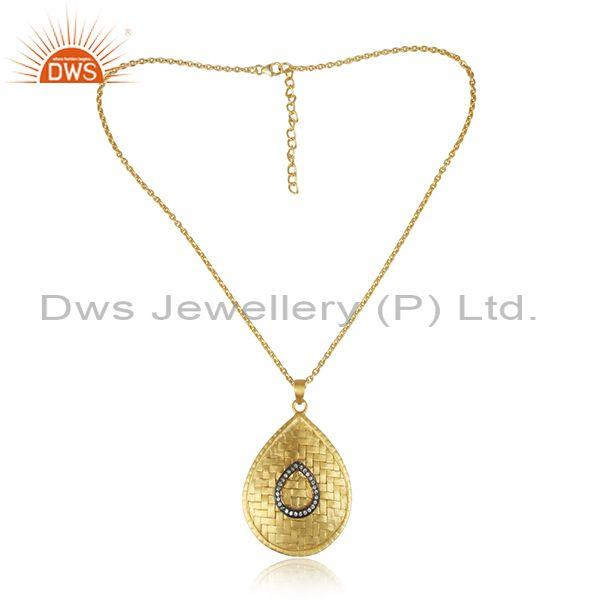 CZ Set Gold On 925 Silver Handmade Chain Pendant & Necklace