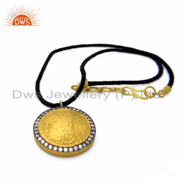 22K Yellow Gold Plated Sterling Silver CZ Disc Pendant With Black Cord Necklace