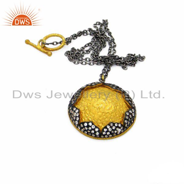 Oxidized and 18k yellow gold plated sterling silver cz pendant with chain