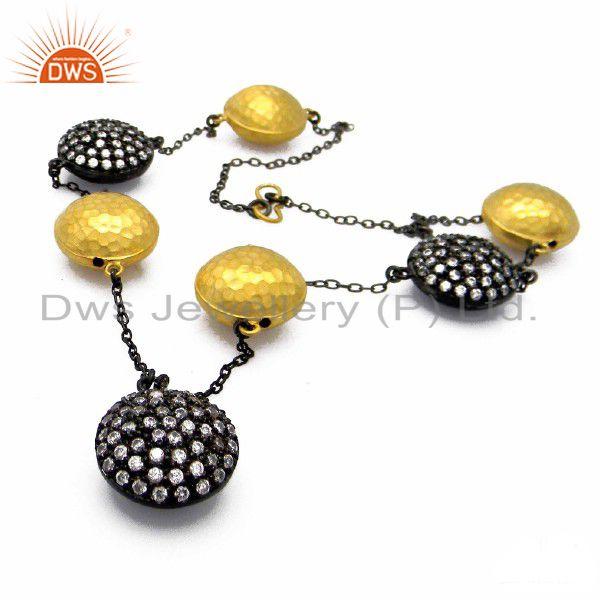 Oxidized And 18K Yellow Gold Plated Sterling Silver CZ Designer Necklace