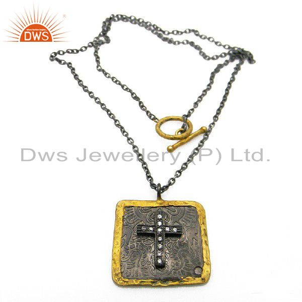 Oxidized 22K Gold Plated Sterling Silver Cubic Zirconia Cross Pendant Necklace