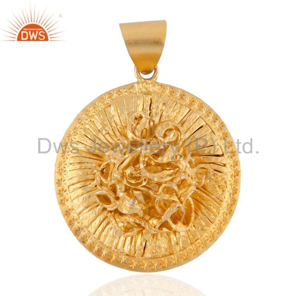 Handmade Indian Designer 18k Yellow Gold Over 925 Sterling SIlver Pendant