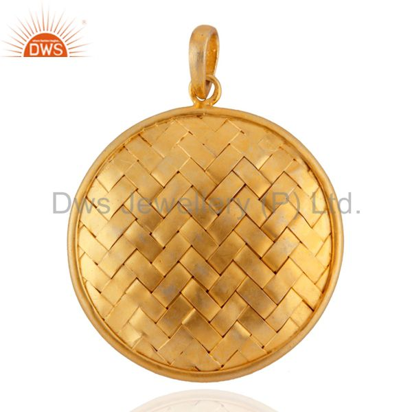 Sterling Silver Circle Weave Pendant 24k Yellow Gold Plated Jewellery