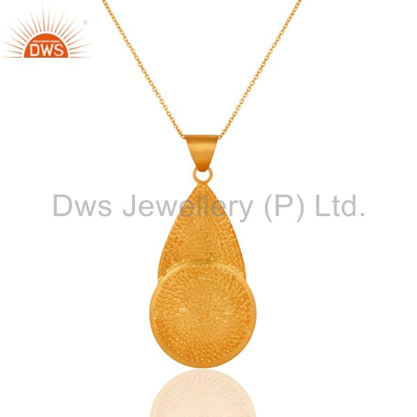 Handmade Textured 18k Yellow Gold Plated Matte Finish Sterling SIlver Pendant