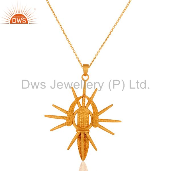 Unique Women Vintage Retro 18k Gold GP Sterling Silver Spider Pendant Charm