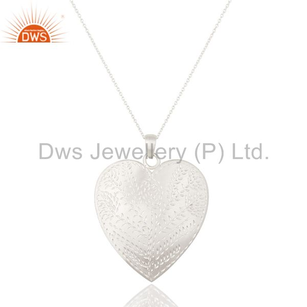 Solid Textured 925 Sterling Silver Brushed Finish Heart Shaped Pendant Jewelry