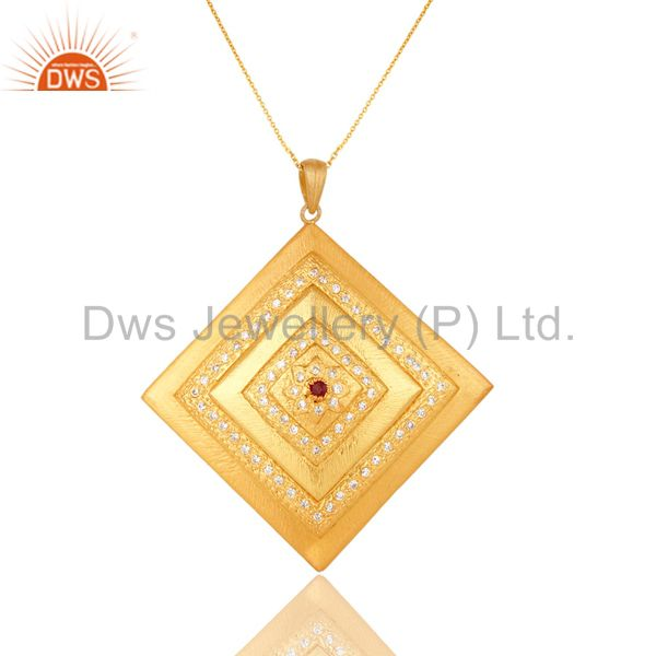 24k gold plated sterling silver cubic zirconia women fashion pendant with chain
