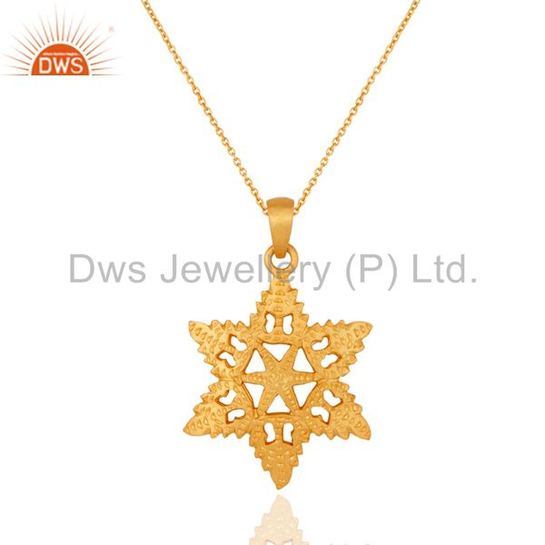 24kt gold plated charm sterling silver star shape handmade jewelry pendant
