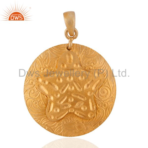 24k Gold Over Sterling Silver Hand Hammered Pattern Modern Style Pendant Jewelry