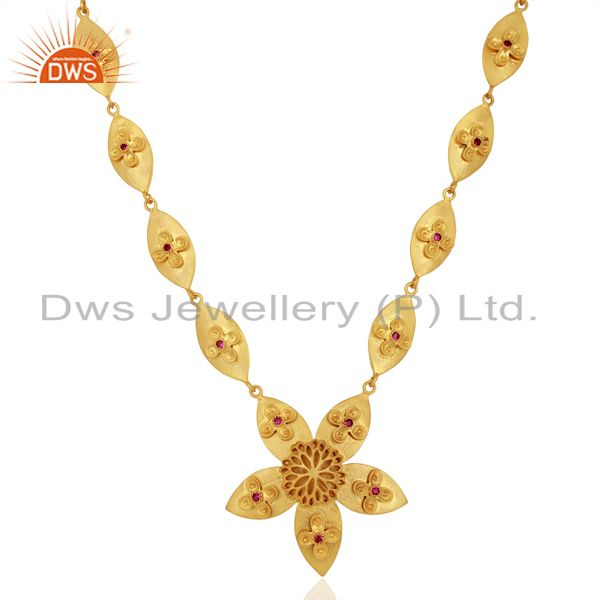 18k gold plated sterling silver red cubic zirconia handmade fashion necklace