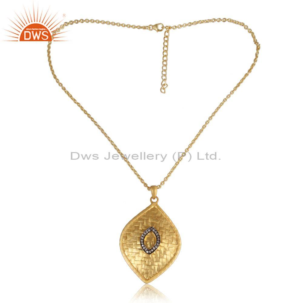 CZ Set Gold On Silver Oval Handmade Pendant And Necklace