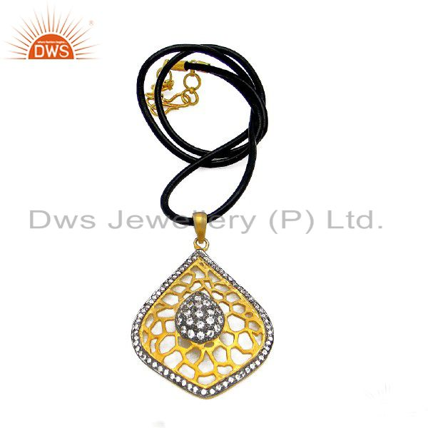 22K Yellow Gold Plated Sterling Silver CZ Filigree Pendant With Black Cord
