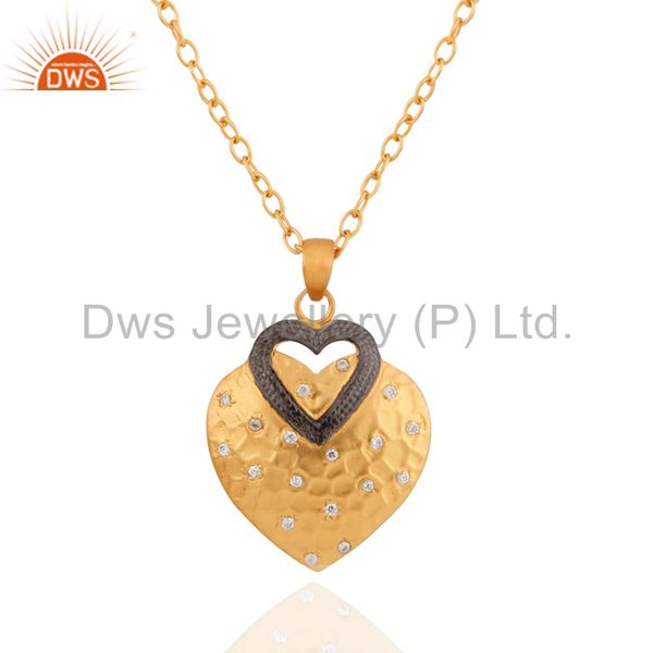 "24K Yellow Gold Plated White Zircon STerling SIlver Heart Pendant 16"" Chain"