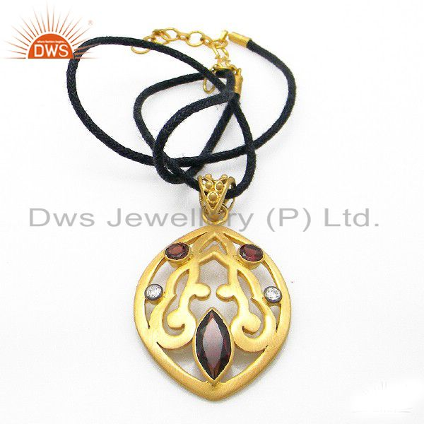 18K Yellow Gold Plated Sterling Silver Garnet Gemstone And CZ Designer Pendant