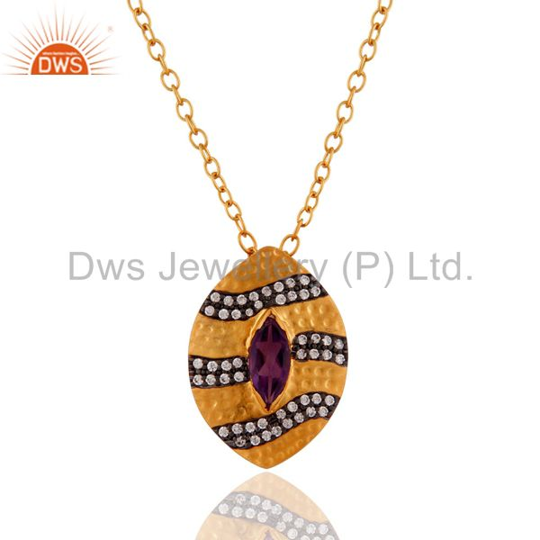 18k Yellow Gold Plated Amethyst & Cubic Zirconia Designer Pendant With 16