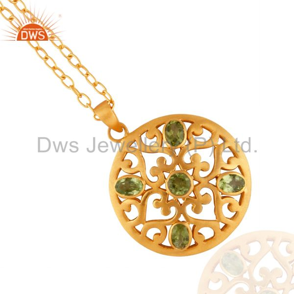 Genuine Natural Oval Shape Peridot 18k Gold Plated Filigree Design Pendant With