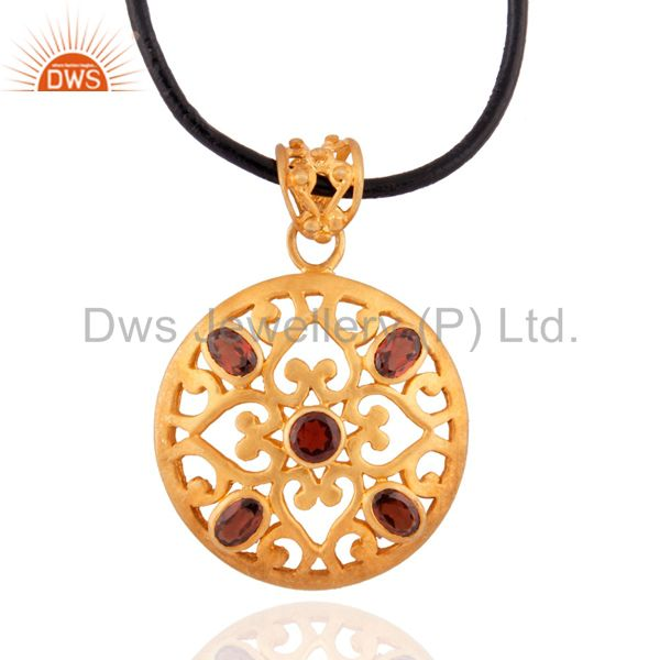 24k Gold Plated Jewelry 925 Sterling Silver Artisan Filigree Garnet Gemstone Pe
