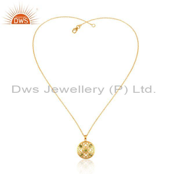 Peridot set pendant and gold on 925 silver designer necklace