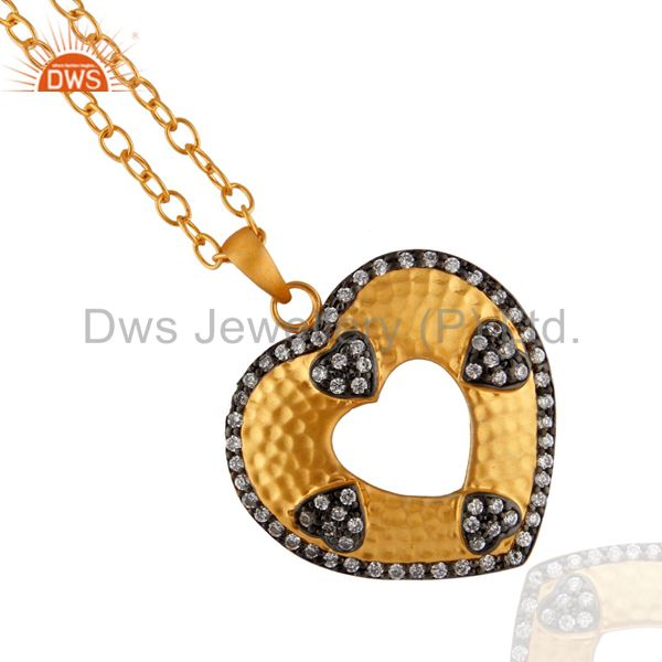 Indian Handcrafted Heart Shape 24k Gold Plated White Zircon Pendant Chain Neckla