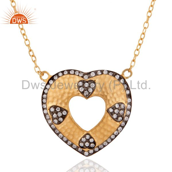 925 Sterling Silver Artisan Heart Hammered Pendant 18K Gold GP Zircon Chain Jewe