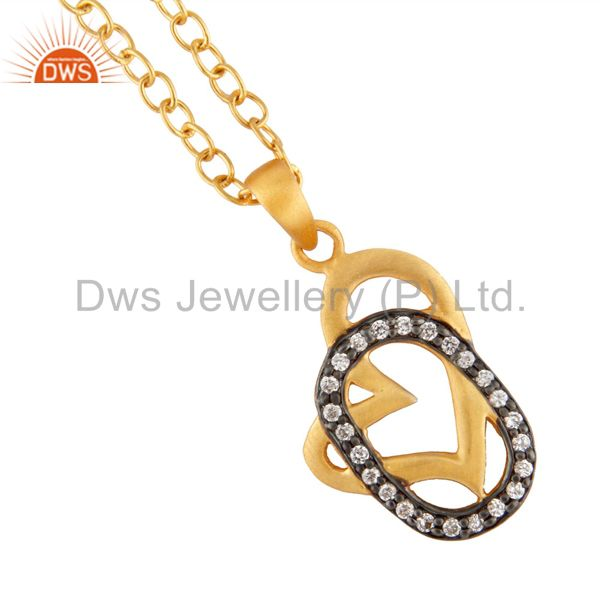 18K Yellow Gold Plated White Cubic Zirconia Heart Design Pendant With 16