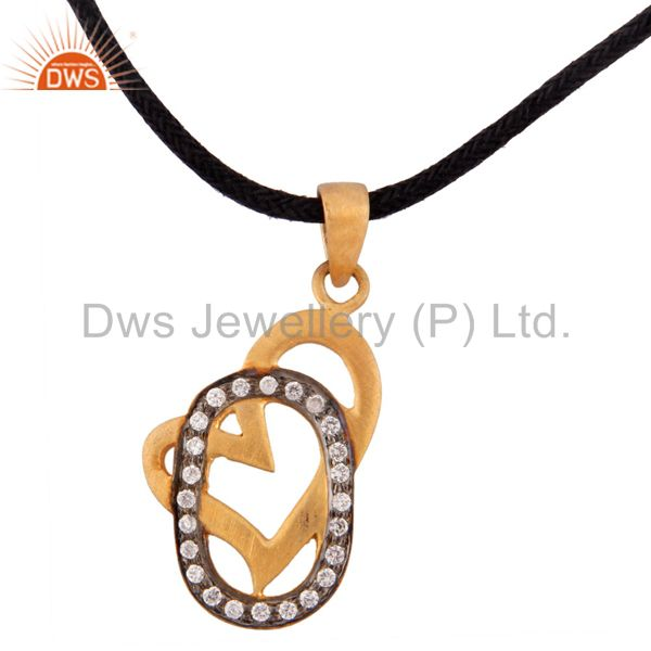 18k Gold Over Sterling Silver Heart Pendant With White Zircon Cord Necklace