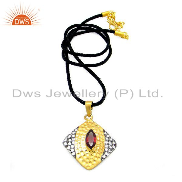 18K Gold Plated Sterling Silver Garnet Gemstone And CZ Textured Pendant