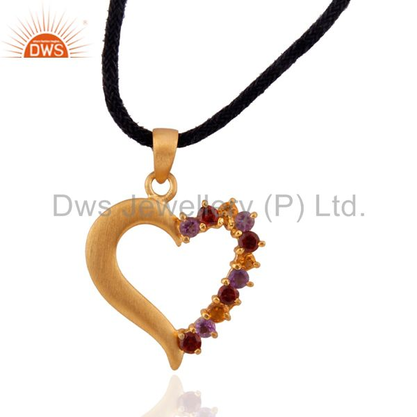 18k Gold over Sterling Silver Genuine Multi-Gemstone Heart Pendant Necklace