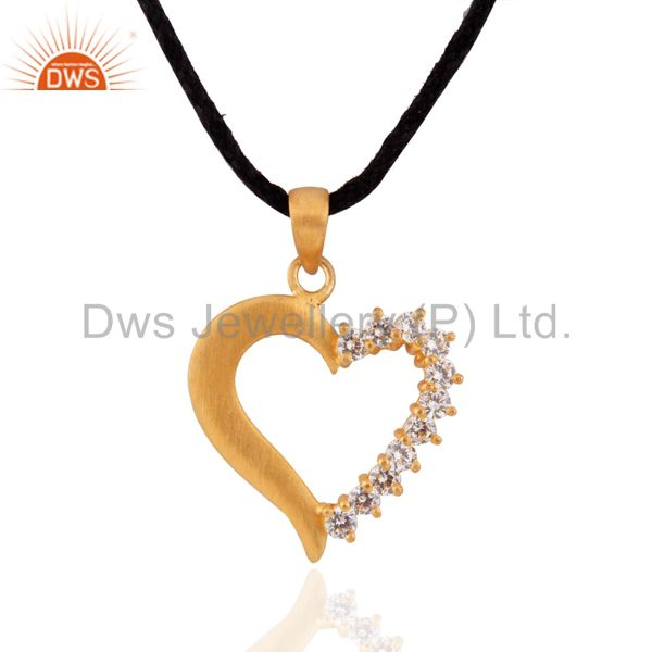 18k yellow gold over sterling silver white zircon round cut heart pendant