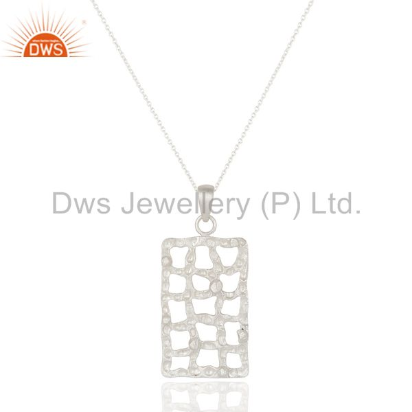 Handmade Solid 925 Sterling Silver Hammered Design Pendant Chain Necklace