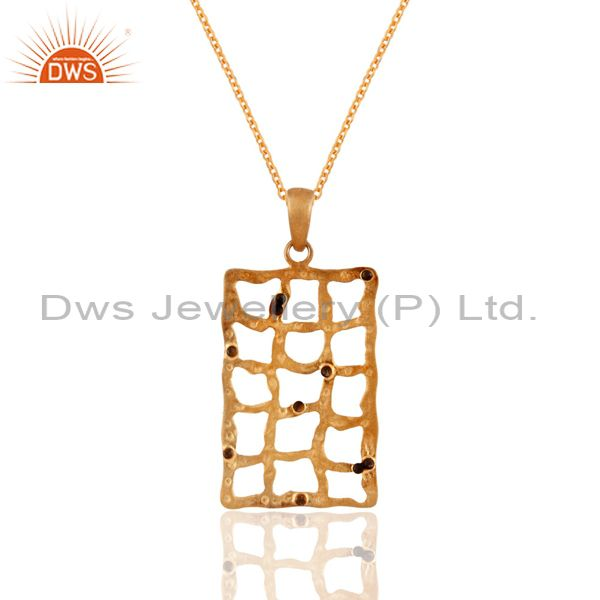 Handmade 925 Sterling Silver Hammered Design Gold Plated Pendant Chain Necklace