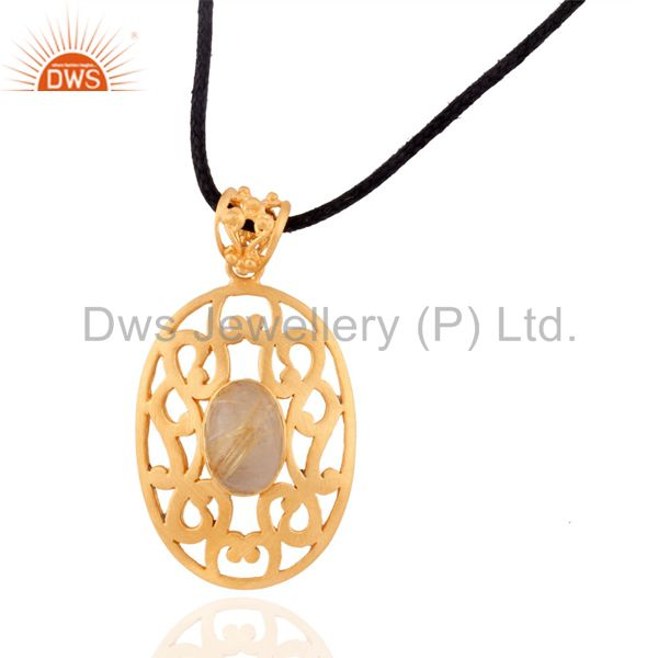 18k Gold over 925 Sterling SIlver Golden Rutilated Quartz Designer Pendant