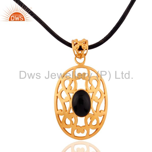 "18K Gold Plated Black Onyx 925 Silver Filigree Design Pendant with 16"" Cord"