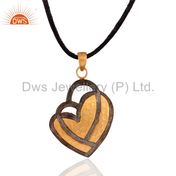 18k gold plated jewelry 925 sterling silver heart design brush finish pendant